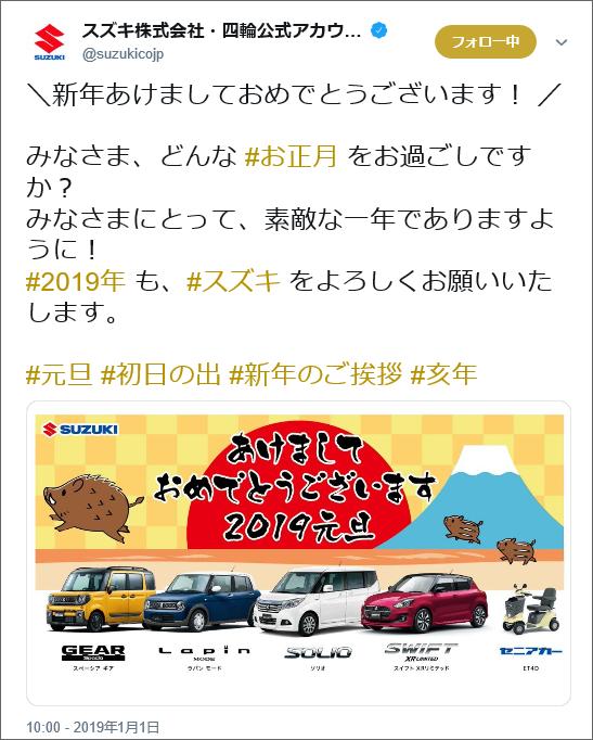suzuki自動車Twitter投稿イメージ画像