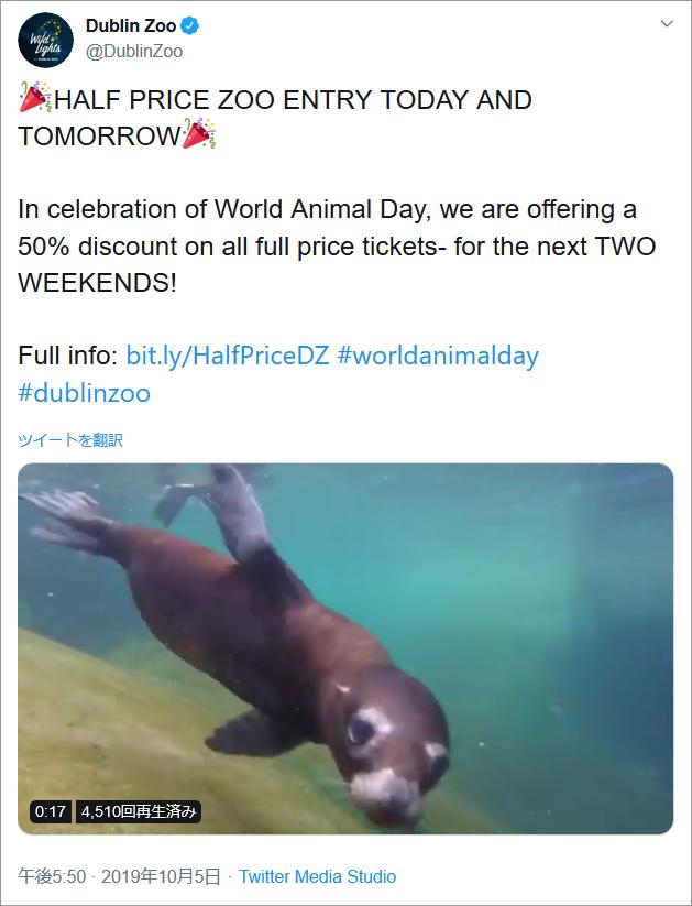 参考イメージ:アイルランド、ダブリン動物園、Twitterアカウントより