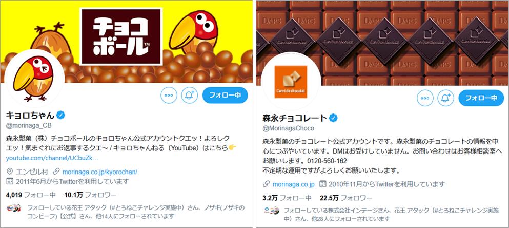 ツイートイメージ画像:森永製菓、キョロちゃんと森永チョコレートの2アカウント