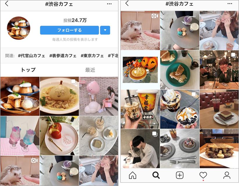 参考イメージ:Instagramで#渋谷カフェで検索