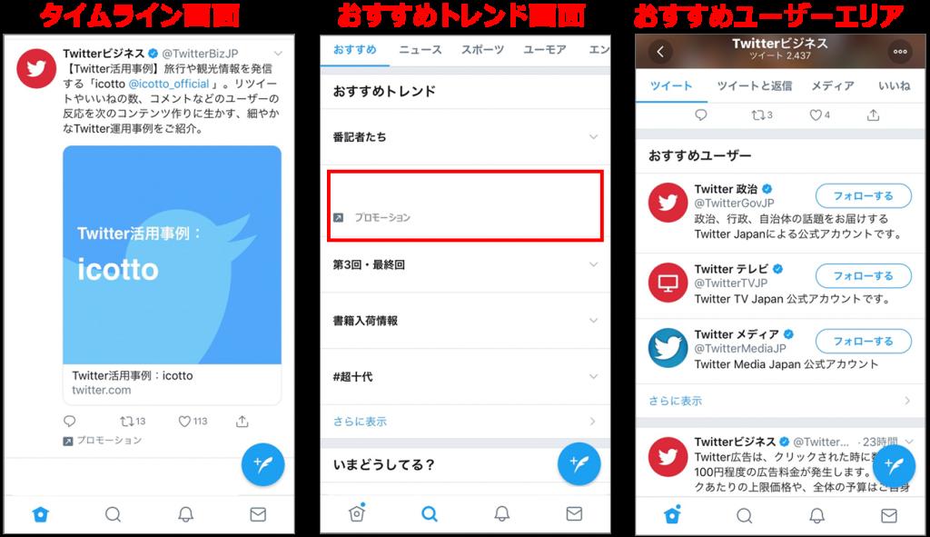 スマホ画面イメージ図:Twitter広告掲載箇所